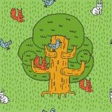 Modello grandi albero ed animali della foresta Quercia e scoiattolo Lepri a royalty illustrazione gratis