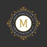 Modello grazioso alla moda dell'emblema del monogramma Illustrazione di vettore royalty illustrazione gratis