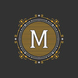 Modello grazioso alla moda dell'emblema del monogramma Illustrazione di vettore illustrazione di stock