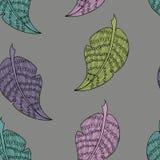 Modello grigio con le foglie variopinte royalty illustrazione gratis