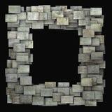 modello grigio di lerciume delle mattonelle della struttura 3d sul nero Fotografie Stock Libere da Diritti