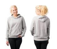 Modello grigio di maglia con cappuccio del pullover Immagine Stock