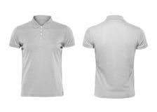 Modello grigio di progettazione della maglietta di polo isolato su fondo bianco Fotografia Stock Libera da Diritti