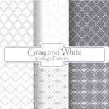 Modello grigio e bianco dell'annata del punto Fotografia Stock