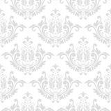 Modello grigio e bianco senza cuciture con gli ornamenti della carta da parati Fotografie Stock