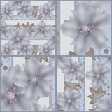 Modello grigio senza cuciture della rappezzatura retro con i fiori Immagini Stock