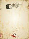 Modello grungy del manifesto di Halloween con la mano di scheletro ed il bulbo oculare sanguinoso, annata disegnata Immagini Stock