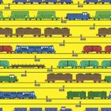Modello illustrato di vettore su un tema della ferrovia Fotografie Stock Libere da Diritti