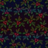 Modello illustrato senza cuciture dell'agrifoglio di Natale nei colori protetti Fotografia Stock