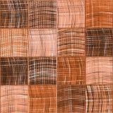 Modello imbottito senza cuciture con gli elementi quadrati barrati e a quadretti di lerciume in marrone, bianco, rosa illustrazione di stock