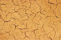 Modello incrinato asciutto di struttura del fondo della parete del fango Fotografia Stock