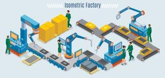 Modello industriale isometrico della fabbrica illustrazione vettoriale