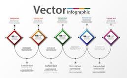 Modello infographic astratto per successo con cinque punti ed i quadrati variopinti Immagini Stock Libere da Diritti