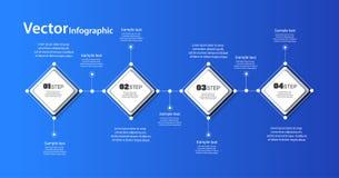 Modello infographic astratto su fondo blu per successo con quattro punti ed i quadrati variopinti Fotografie Stock Libere da Diritti