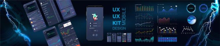 Modello infographic del app mobile con il settimanale di progettazione moderna ed i grafici di statistiche illustrazione vettoriale