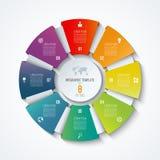 Modello infographic del cerchio Ruota trattata Diagramma a torta di vettore Concetto di affari con 8 opzioni royalty illustrazione gratis