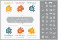 Modello infographic di media sociali, elementi, icone royalty illustrazione gratis