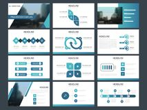 Modello infographic di presentazione degli elementi del pacco blu del triangolo rapporto annuale di affari, opuscolo, opuscolo, a royalty illustrazione gratis