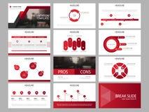 Modello infographic di presentazione degli elementi del pacco rosso del triangolo rapporto annuale di affari, opuscolo, opuscolo,