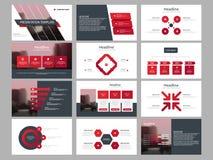 Modello infographic di presentazione degli elementi del pacco rosso del triangolo rapporto annuale di affari, opuscolo, opuscolo, royalty illustrazione gratis