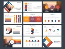 Modello infographic di presentazione degli elementi del pacco variopinto rapporto annuale di affari, opuscolo, opuscolo, aletta d illustrazione vettoriale