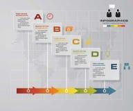 Modello infographic di progettazione di vettore di 5 punti di cronologia Può essere usato per i processi di flusso di lavoro illustrazione vettoriale