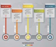 Modello infographic di progettazione di vettore di 5 punti di cronologia Può essere usato per i processi di flusso di lavoro Fotografie Stock Libere da Diritti