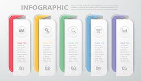 Modello Infographic di progettazione L'illustrazione di vettore può essere usata per il flusso di lavoro, la disposizione, il dia Fotografie Stock