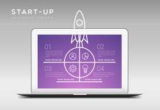 Modello infographic di tema startup w di vettore minimalistic moderno Fotografie Stock Libere da Diritti