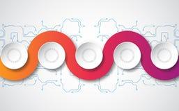 Modello infographic di vettore con l'etichetta della carta 3D, cerchi integrati Può essere usato per la disposizione di flusso di illustrazione di stock