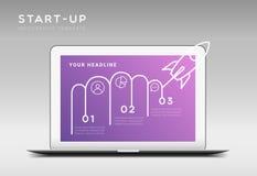 Modello infographic di vettore di tema startup minimalistic moderno Immagine Stock
