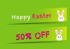 Modello infographic felice di pasqua con il tema del coniglio di pasqua 50 per cento giù, sconto di compera immagini stock