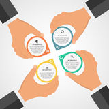 Modello infographic piano di progettazione moderna di affari con le mani umane che tengono i blocchetti del giro Fotografia Stock Libera da Diritti