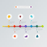 Modello infographic piano di vettore trattato delle icone di cronologia illustrazione di stock