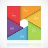 Modello infographic quadrato di vettore nello stile materiale Concetto di affari con 6 punti, parti, opzioni Fotografie Stock Libere da Diritti