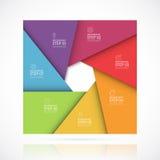 Modello infographic quadrato di vettore nello stile materiale Concetto di affari con 7 punti, parti, opzioni Fotografia Stock