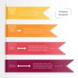 Modello infographic variopinto di cronologia di vettore con i nastri fotografia stock libera da diritti