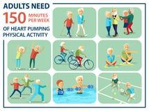 Modello informativo del manifesto per l'anziano Un certo tipo di attività fisiche care e necessarie per i pensionati: camminata n Immagini Stock