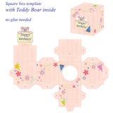 Modello interessante della scatola quadrata con Teddy Bear sveglio dentro, tenendo buon compleanno della nota illustrazione di stock