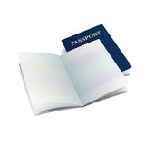 Modello internazionale aperto del passaporto di vettore con le pagine pulite Immagini Stock Libere da Diritti