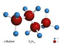 Modello isolato 3D di una molecola di butano Immagini Stock