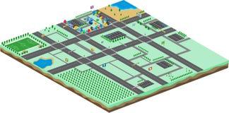 Modello isometrico dei beni del gioco di mondo del fumetto illustrazione vettoriale