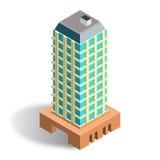 Modello isometrico della costruzione 3D Fotografia Stock Libera da Diritti