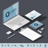 Modello isometrico di identità corporativa Fotografia Stock