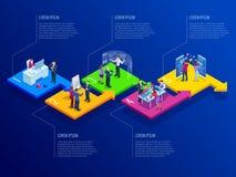 Modello isometrico di infographics di affari di presentazione con 5 opzioni Visualizzazione di dati di gestione, vendita digitale illustrazione vettoriale
