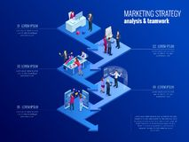 Modello isometrico di infographics di affari di presentazione con 5 opzioni Visualizzazione di dati di gestione, vendita digitale royalty illustrazione gratis