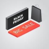 Modello isometrico di progettazione dell'insegna di vendita di Black Friday Fotografie Stock Libere da Diritti