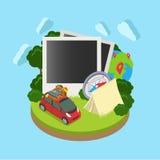 Modello isometrico piano 3d di app di viaggio della vetrina mobile del modello Fotografie Stock