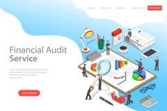 Modello isometrico piano della pagina di atterraggio di vettore di servizio di verifica finanziaria illustrazione di stock