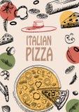 Modello italiano di stile di scarabocchio dell'opuscolo del menu di progettazione dell'alimento della pizza Immagini Stock Libere da Diritti
